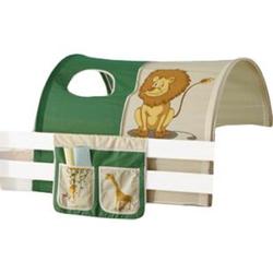 Tunnel Safari + Bett-Tasche inkl. 2 Sichtfenster 100% Baumwolle grün / beige