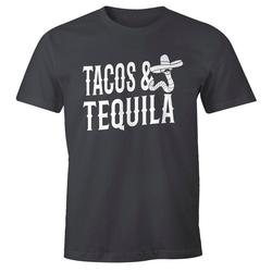 MoonWorks Print-Shirt Herren T-Shirt Tacos & Tequila Wurm Sombrero Tequilla Mexikanisch Moonworks® mit Print grau L