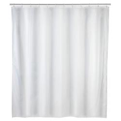 WENKO Duschvorhang Uni Weiß, Polyester, 240 x 180 cm, waschbar