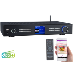 WLAN-HiFi-Tuner mit Internetradio, DAB+, UKW, Streaming, MP3, schwarz