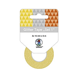URSUS Glitter Tape 3er-Set  15 mm x 5 m