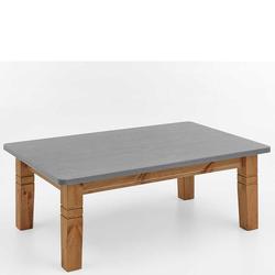 Vollholztisch aus Kiefer Massivholz grauer Tischplatte