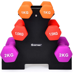 COSTWAY Hantel-Set Kurzhantel Set, 10 kg, (6-tlg), mit Hantelständer