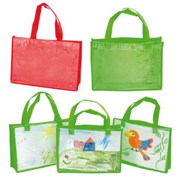 Kunststofftaschen mit Klarsichthülle, quer - grün - Kunststofftaschen mit Klarsichthülle, quer - grün