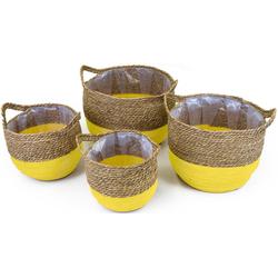 NOOR LIVING Aufbewahrungskorb (Set, 4 Stück), dekorative Aufbewahrung von verschiedenen Utensilien braun