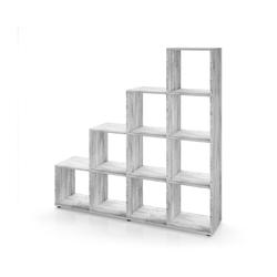Vicco Stufenregal Treppenregal 10 Fächer Grau Beton - Raumteiler Bücherregal
