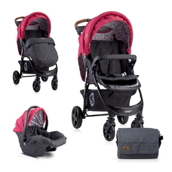 Lorelli Kombi-Kinderwagen Kombikinderwagen Daisy 2 in 1, Babyschale, Sportsitz, Fußabdeckung rot