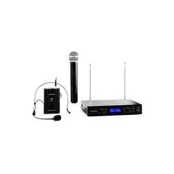 Auna Mikrofon VHF-400 Duo3 2-Kanal VHF-Funkmikrofon-Set 1x Headset + 1x Handmikrofon