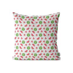 Kissenbezug, VOID (1 Stück), Aquarell Wassermelone Kissenbezug Wassermelone Sommer Früchte Essen Kochen Aqua 80 cm x 80 cm