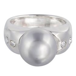 Pippa&Jean Ring  Messing  Kristallperle, verziert mit Kristallperlsilber