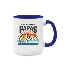 Shirtracer Tasse Die besten Papas werden zum Opa befördert Retro Grau - Tasse zweifarbig