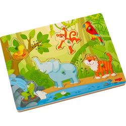 HABA 303181 - Sound-Greifpuzzle, Im Dschungel, Holzpuzzle mit Tierstimmen, Kinderpuzzle,