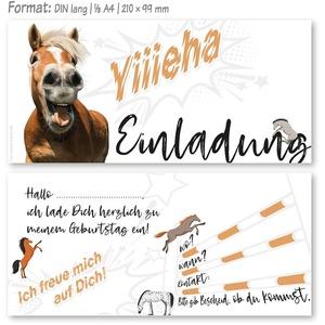 12 Einladungskarten Kindergeburtstag Pferd,Die Kinder Geburtstagseinladung für alle Pferdebegeisterten Mädchen und Jungen (12 Einladungskarten ohne Kuvert)