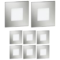 LED Treppen-Licht FEX Treppen-Leuchte, eckig, 8,5x8,5cm, 230V, blau, 8 Stk.