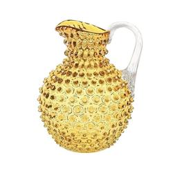 KLIMCHI Wasserkrug Venezia für 2 Liter; Hobnail Krug / Karaffe aus mundgeblasenem Glas mit Noppenstruktur gelb
