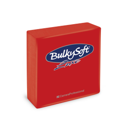 BulkySoft® Servietten LUXE, 1/4 falz, 3-lagig, Sehr saugfähige, vollflächig geprägte Serviette aus 100% Zellstoff, 1 Karton = 16 x 40 Servietten, Farbe: rot