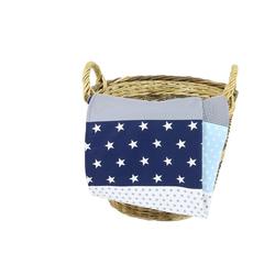Babydecke Babydecke Blau Hellblau Grau 70x100 cm als Kinderwagendecke & Spieldecke (Made in EU), ULLENBOOM ®, Aus hochwertiger Baumwolle & Fleece, Design: Sterne, Patchwork 70 cm x 100 cm