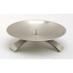 Kommunionkerzenhalter Dreifuß Silber gebürstet kleinem Dorn Ø 11,5 cm für Kommunionkerzen
