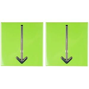 2er Set Flur Garderoben Chrom Wand Haken Pfeil Design Kleider Schlüssel Aufhänger grün