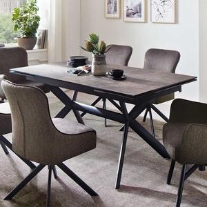 Ausziehtisch in Dunkelbraun und Schwarz Hochdrucklaminat beschichtet