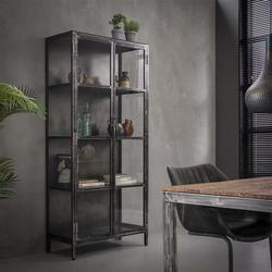 Livin24 Vitrine Suri Industrial Design Metall/Glas schwarz