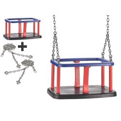 JustFun Einzelschaukel Set, Babyschaukel mit 180cm Edelstahl Ketten, Baby-Schaukelsitz