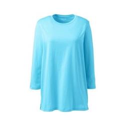 Supima-Shirt mit 3/4-Ärmeln in Petite-Größe, Damen, Größe: S Petite, Blau, Baumwolle, by Lands' End, Eisbonbon - S - Eisbonbon