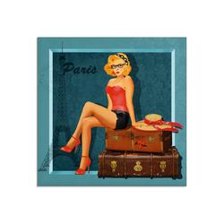 Artland Glasbild Reise nach Paris, Frau (1 Stück) 40 cm x 40 cm x 1,1 cm