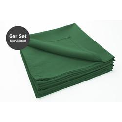 jilda-tex Stoffserviette Serviette 6er Set - Renforce - 100% Bio-Baumwolle, 42x42 cm Bio Baumwolle unifarben Renforce 6er Set grün