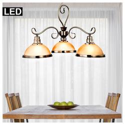 etc-shop Kronleuchter, Pendel Hänge Lampe Decken Kronleuchter messing Luster Glas Leuchte im Set inkl. LED Leuchtmittel