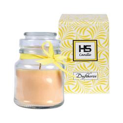 HS Candle Duftkerze (1-tlg), Kerze im Bonbonglas, Jar-Candle mit ca. 30 Std. Brenndauer, Höhe: 10cm, Ø7cm gelb