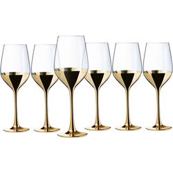 Leonique Weinglas Donella (6-tlg), Glas, mit hochwertigem Golddekor