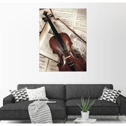 Posterlounge Wandbild, Violine auf Musikbuch 100 cm x 130 cm