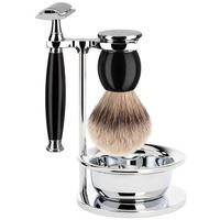 Mühle SOPHIST 4-tlg. Silberspitz Rasier-Set Griffe schwarz