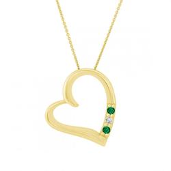 Halskette in Herz-Form aus Gold mit Smaragden und Diamant Platon