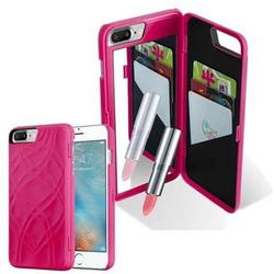 Cadorabo TPU Hard Cover für Apple iPhone 8 PLUS / iPhone 7 PLUS / iPhone 7S PLUS mit Muster, Spiegel und 3 Kartenfächer in TÜRKIS