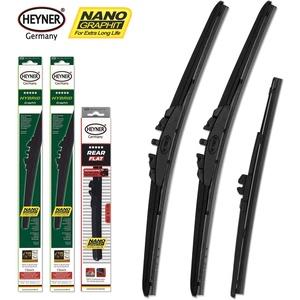 Heyner FL 700mm/FR 700mm/ R300mm Hybrid Graphit Frontwischer & Heckscheibenwischer Nano Longlife-Beschichtung Golf Plus (521) ab Baujahr Jan 09-Feb 14, Schwarz, Set of 3