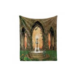 Foulard Gemütlicher Plüsch für den Innen- und Außenbereich, Abakuhaus, Brunnen Garten von Schloss und Rosen 125 cm x 175 cm