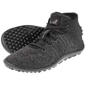 Leguano Barfußschuh Go, Knit-Sneaker, grau/schwarz, Gr. 38