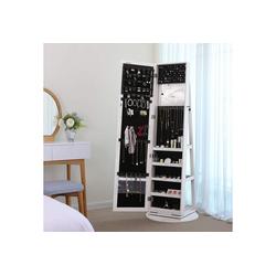 SONGMICS Schmuckschrank JBC62W Spiegelschrank, mit 160 cm hohem Spiegel, weiß