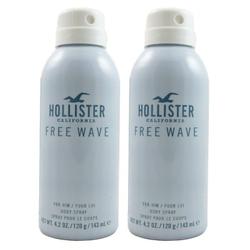 Hollister Free Wave for Him 2 x 143 ml Deodorant Spray Deospray Spray NEU Set