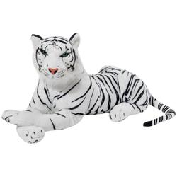 BRUBAKER Kuscheltier Liegender Tiger 45 cm lebensecht (1-St., König des Dschungels), Stofftier Plüschtier weiß