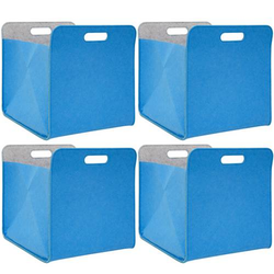 4er Set Filz Aufbewahrungsbox 33x33x38 cm Kallax Filzkorb Regal Einsatz Box Blau