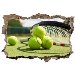 DesFoli Wandtattoo Tennis Tennisball Tennisplatz D0613 bunt 150 cm x 98 cm