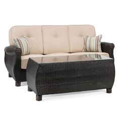La-Z-Boy Outdoor Breckenridge 2pc Wicker Outdoor Sofa and Coffee Table Set with Sunbrella Spectrum Sand Cushion