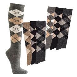 Socks 4 Fun Kniestrümpfe Alpaka Kniestrümpfe Karomuster (3-Paar) 35-38