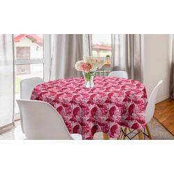 Abakuhaus Tischdecke Kreis Tischdecke Abdeckung für Esszimmer Küche Dekoration, Regenschirm Grunge-Sonnenschirme-Muster rosa