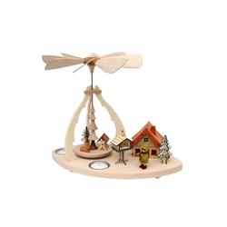 SIGRO Weihnachtspyramide Holz Tischpyramide Rehe mit Jäger