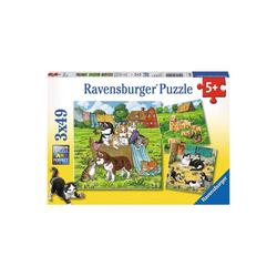 Ravensburger Puzzle 3er Set Puzzle, je 49 Teile, 21x21 cm, Süße Katzen, Puzzleteile