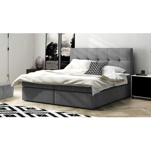 Boxspringbett Holly Bett 160x200 mit Topper und Zwei Bettkasten Webstoff oder Velours wählbar grau (Avra 17)